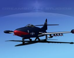 3D model Grumman F9F-5 Panther USMC V03