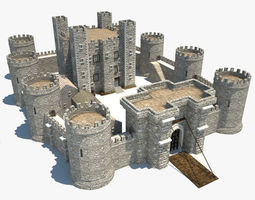 Medieval Castle fantasy 3D model low-poly