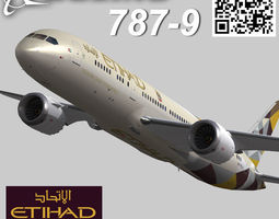 3d model boeing 787-9 etihad airways livery animated realtime