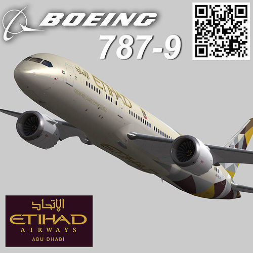 boeing 787-9 etihad airways livery 3d model low-poly max 3ds fbx 1