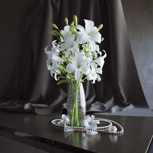 Lily In Vase 3d Model Flower Vase Cgtrader