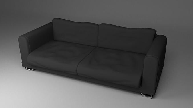 Black Fabric Couch Sofa Model