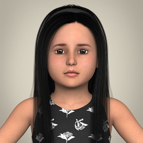 realistic little girl 3d model max obj 3ds fbx c4d lwo lw lws 1