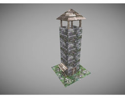 low poly middle ages tower 3D model