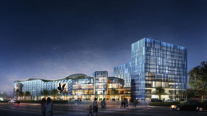 city shopping mall 3d model max 1