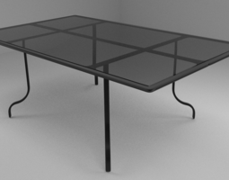 Glass Top Table 3D model low-poly