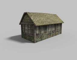 low-poly low poly village house 1 3d model