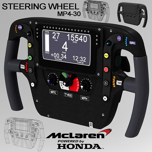 mp4 30 steering wheel 3d model low-poly max obj 3ds fbx c4d ma mb 1