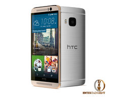 htc one m9 grey and silver-gold with cam- lighting scene 3d animated