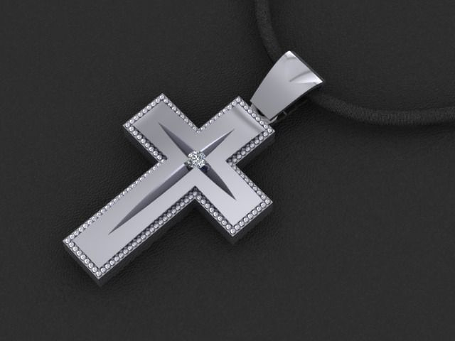 Golden cross pendant with diamond stone 2 3d model 3d printable stl mozeypictures Images