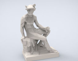 printable statue of mercury lowpoly style