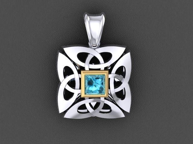 celtik cross pendant with stone 3d model stl 3dm 1