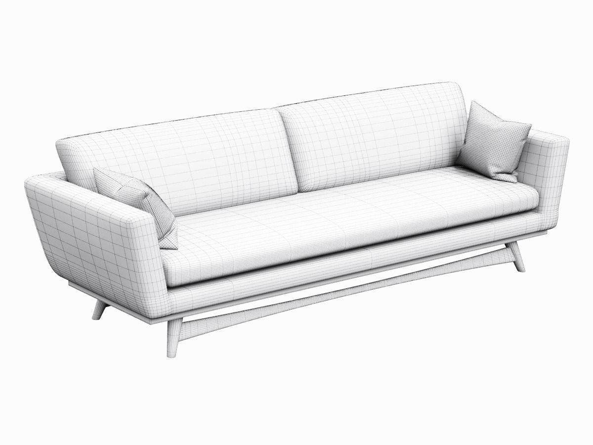 Sofa Red Edition Scandinavian Design 3d Model Game Ready Max Obj Fbx