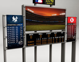 Baseball stadium scoreboard low poly 3D asset