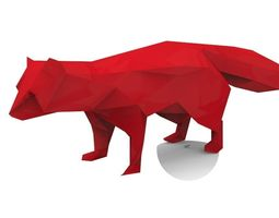 low-poly Prehistoric Fox 3D Model
