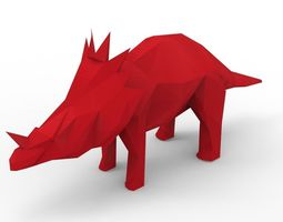 VR / AR ready White Giant Rhino One Horn 3D Model