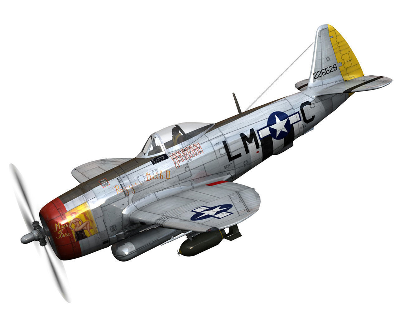 Republic P 47 Thunderbolt Rozzie Geth Ii 3d Model Obj
