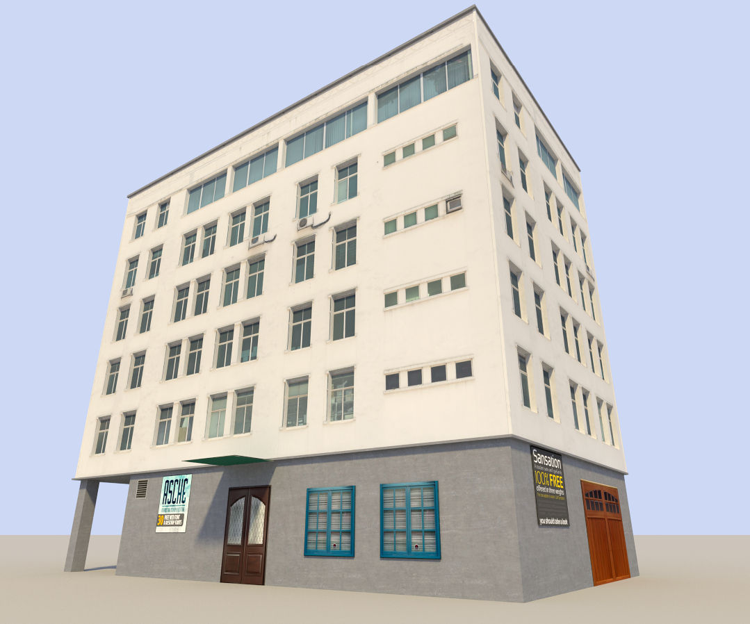 Low poyl town flat house 3d model low poly obj 3ds fbx blend dae x3d