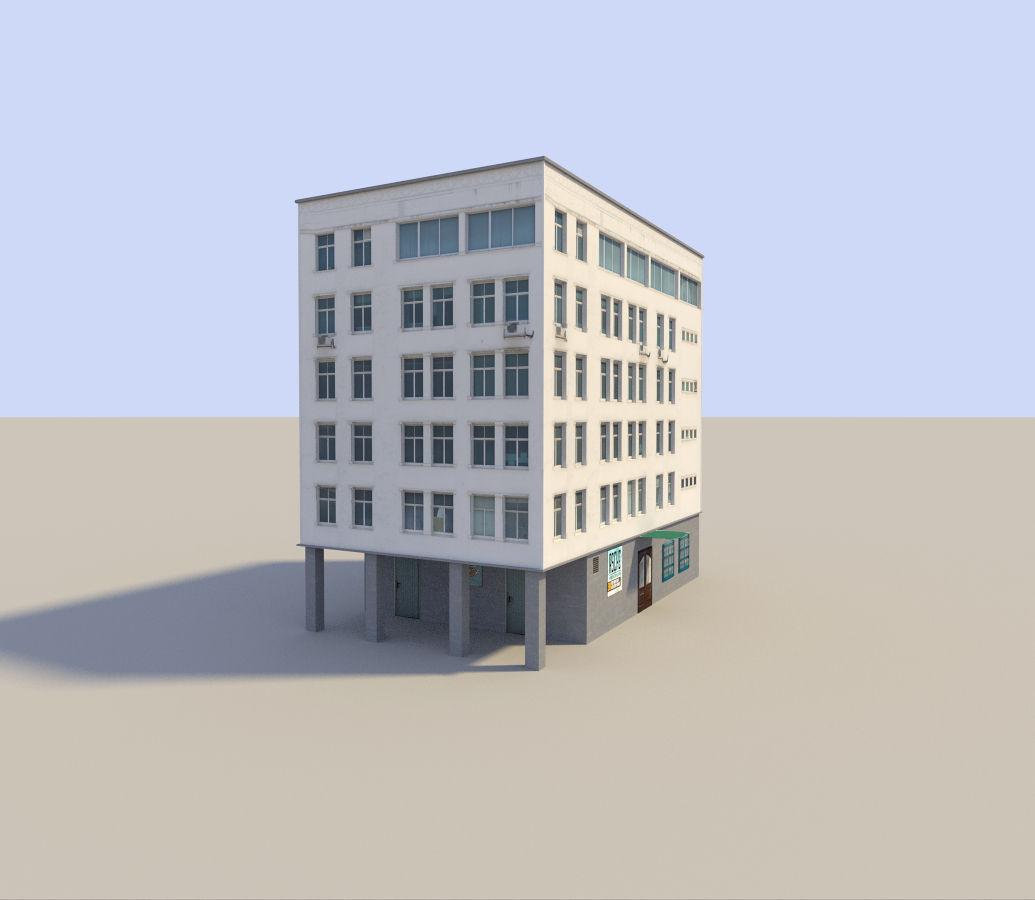 Low poyl town flat house 3d model low poly obj 3ds fbx blend dae x3d