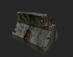3D model Road Block Damaged