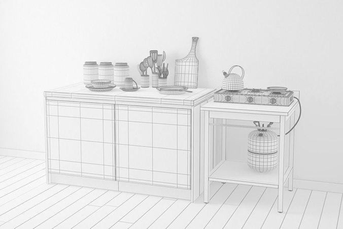 Kitchen ware set 3d model max cgtrader for Kitchen set 3d warehouse