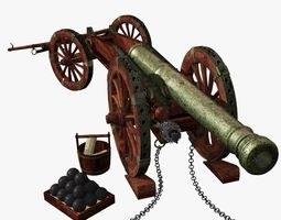 venice bronze cannon xvii - xviii century - culverin 3d model max obj blend wrl wrz
