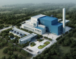 Incineration plant 3D garbage