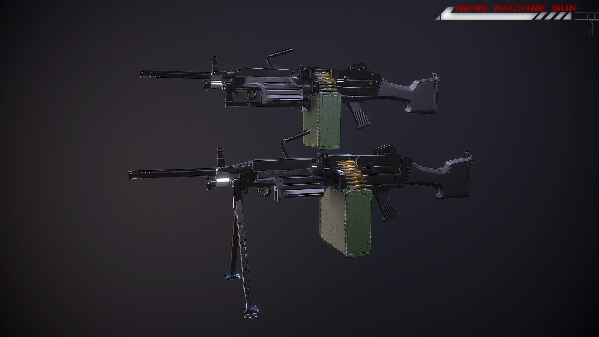 M249 machine gun Lowpoly