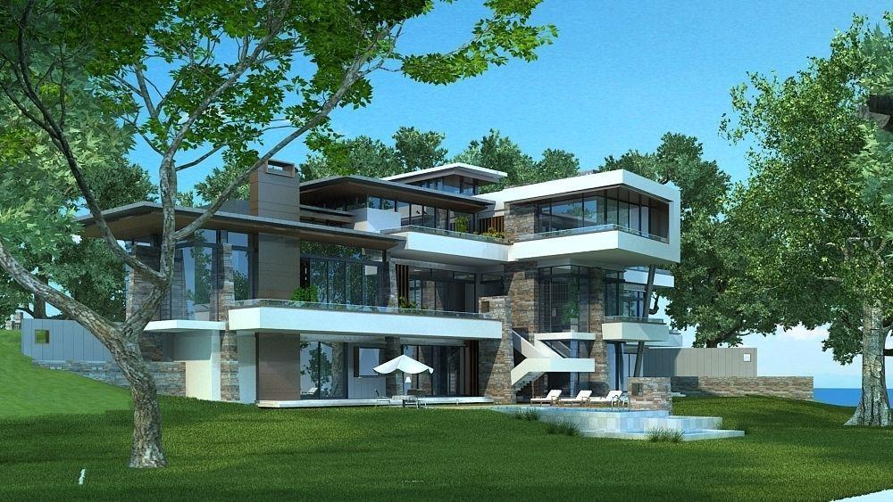 Modern stylish villa 3d model max for Villas 3d model