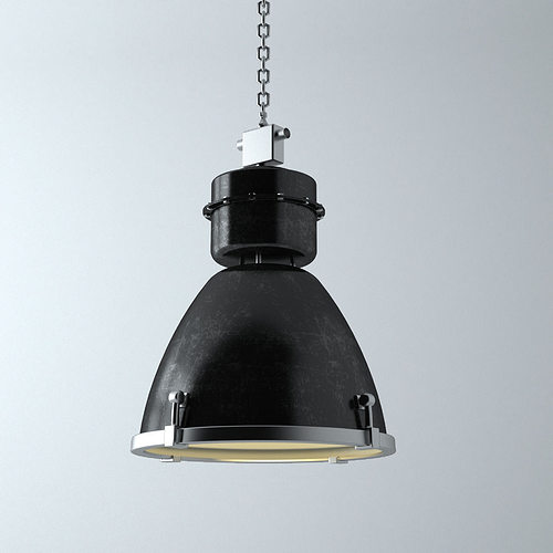 Hanging Ceiling Light 3d Autocad Model: Industrial Light 3D Model MAX OBJ FBX MTL