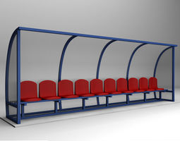 3D asset game-ready Stadium seating reserve bench low