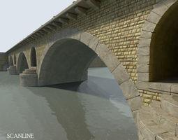 arched stone bridge 3d