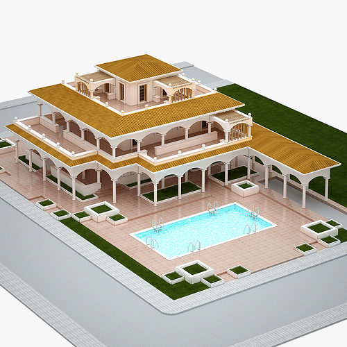3d model villa max fbx cgtrader for Plan villa de luxe