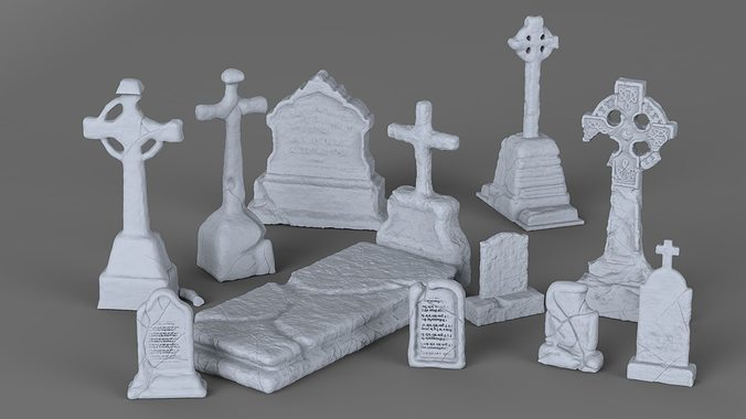 weathered tombstone collection 3d model stl 1