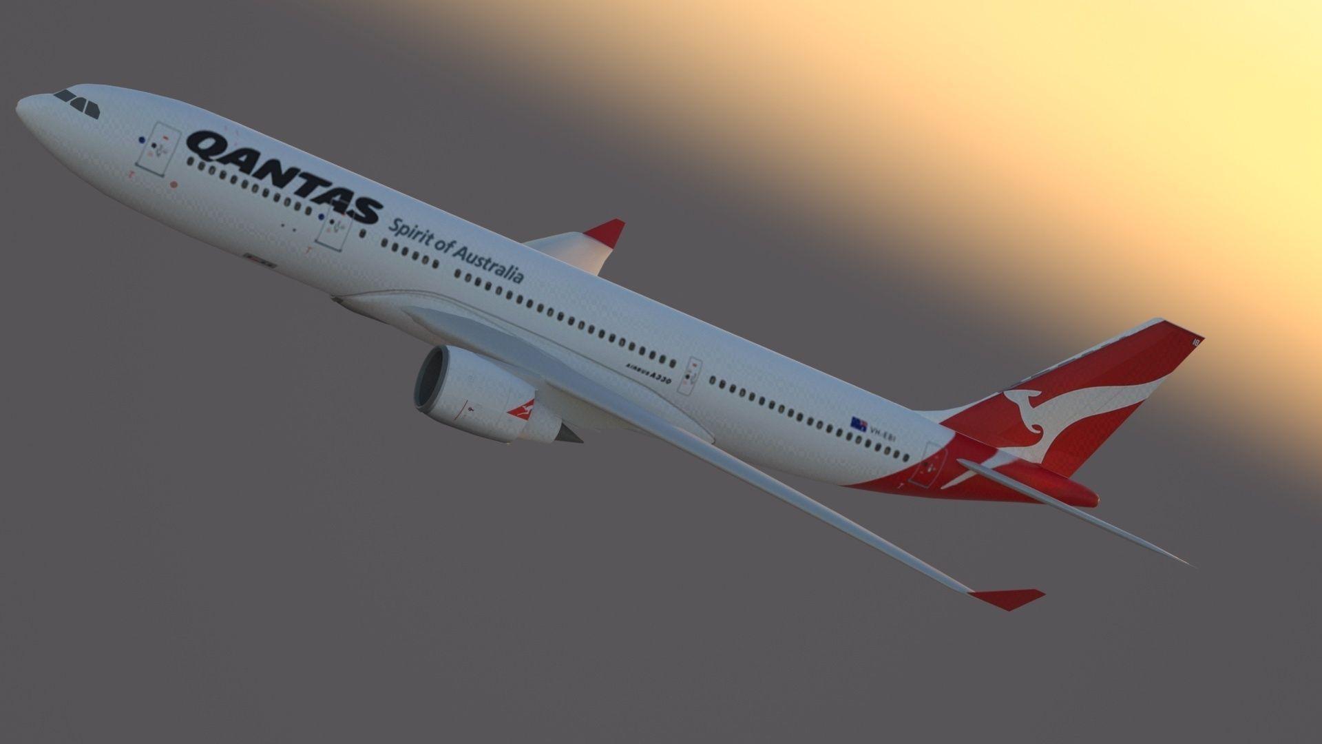 3D model Airbus A330-200 Qantas Livery | CGTrader