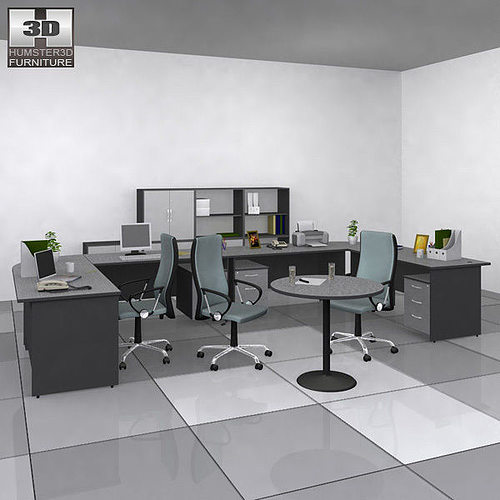 office set 3d model low-poly max obj 3ds fbx c4d lwo lw lws 1
