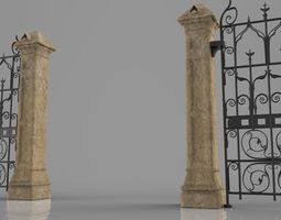 3d print model weathered column and gate