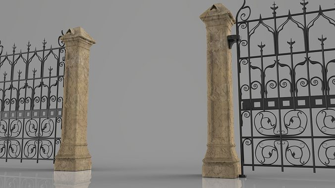 weathered column and gate 3d model stl 1