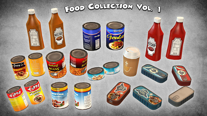food collection vol 1 3d model low-poly max obj 3ds fbx dxf dae 1