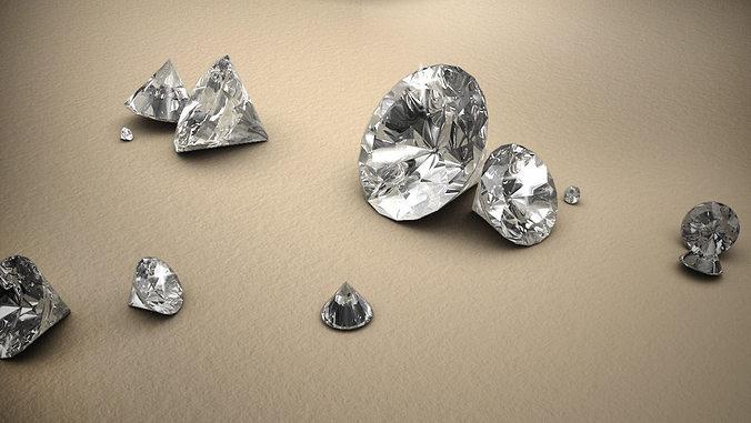 diamond 3d model obj fbx ma mb 1