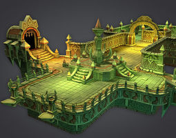 low-poly 3d asset cloudy dungeon