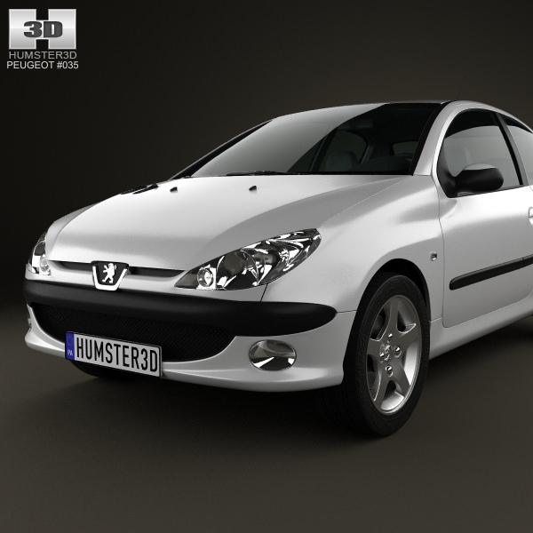 Peugeot 206 Hatchback 3-door 2005 3D Model MAX OBJ 3DS FBX