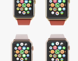 apple watch edition yellow rose gold modern all color 3d model animated