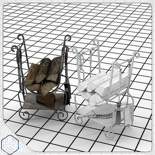 fireplace tool set 3d model obj mtl 3ds fbx blend 1