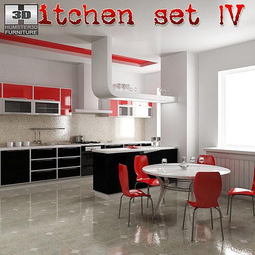 Kitchen set p4 3d model cgtrader for Kitchen set 3d warehouse