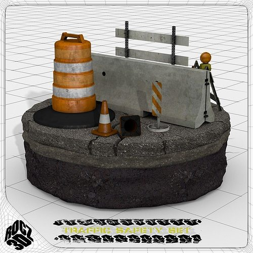 construction and traffic safety set 3d model obj 3ds fbx blend 1