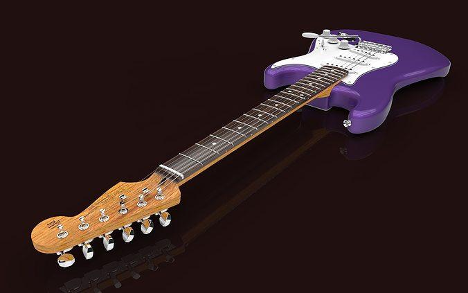 fender stratocaster  3d model sldprt sldasm slddrw 1