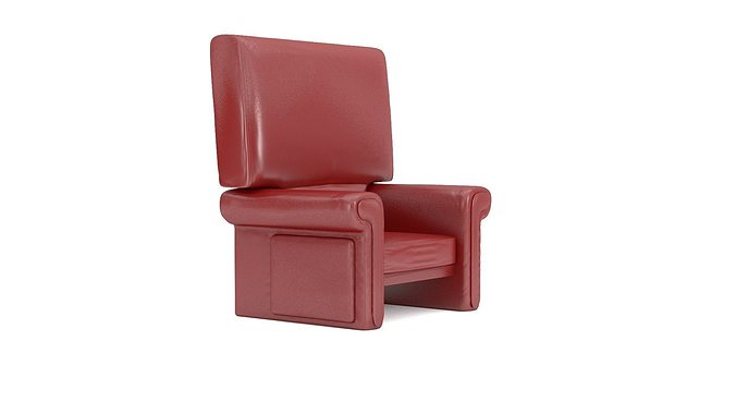 red leather chair sofa 3d model obj mtl 3ds blend 1