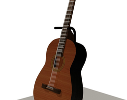 classic guitar with guitar holder 3d