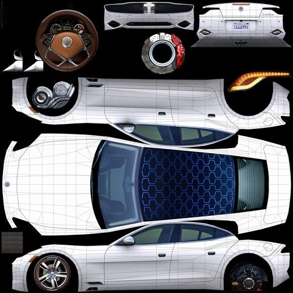 3D Model Fisker Karma 2012 White VR / AR / Low-poly Rigged